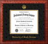Image of University of South Alabama Diploma Frame - Mezzo Gloss - w/USA Embossed Seal & Name - Black Suede on Gold mats