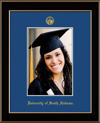 Image of University of South Alabama - 5 x 7 Photo Frame - Black Lacquer - w/Official Embossing of USA Seal & Name - Single Royal Blue mat
