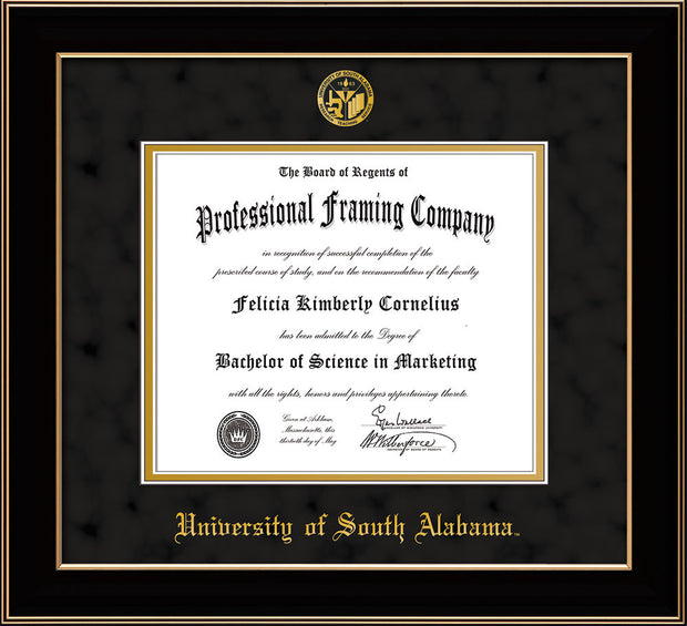 Image of University of South Alabama Diploma Frame - Black Lacquer - w/USA Embossed Seal & Name - Black Suede on Gold mats