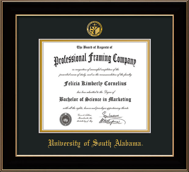 Image of University of South Alabama Diploma Frame - Black Lacquer - w/USA Embossed Seal & Name - Black on Gold mats