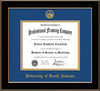 Image of University of South Alabama Diploma Frame - Black Lacquer - w/USA Embossed Seal & Name - Royal Blue on Gold mats