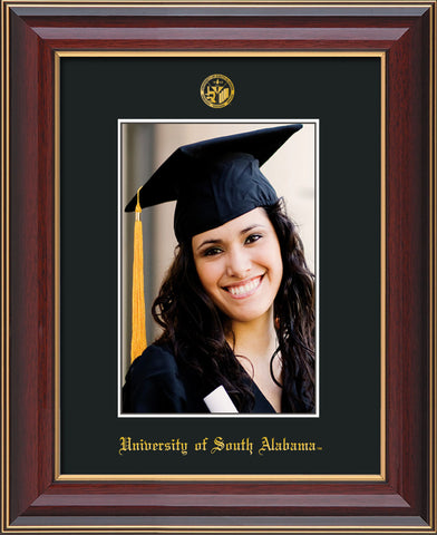 Image of University of South Alabama - 5 x 7 Photo Frame - Cherry Lacquer - w/Official Embossing of USA Seal & Name - Single Black mat