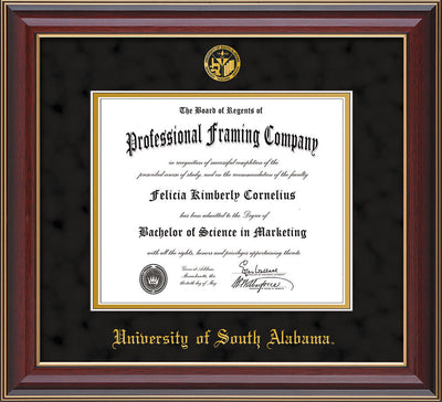 Image of University of South Alabama Diploma Frame - Cherry Lacquer - w/USA Embossed Seal & Name - Black Suede on Gold mats