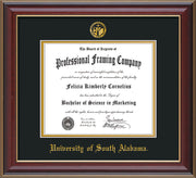 Image of University of South Alabama Diploma Frame - Cherry Lacquer - w/USA Embossed Seal & Name - Black on Gold mats