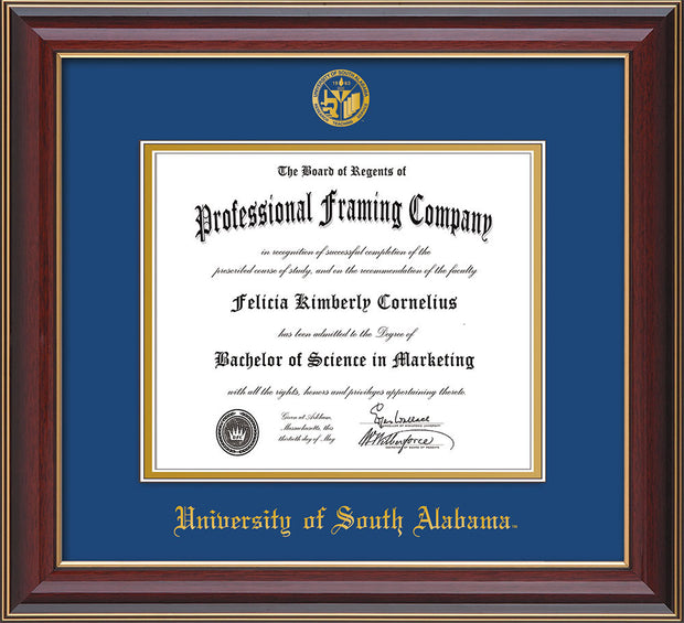 University of South Alabama Diploma Frame - Cherry Lacquer - w/USA Embossed Seal & Name - Royal Blue on Gold mats