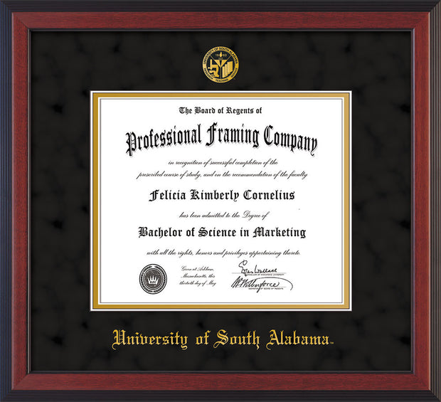 Image of University of South Alabama Diploma Frame - Cherry Reverse - w/USA Embossed Seal & Name - Black Suede on Gold mats