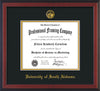 Image of University of South Alabama Diploma Frame - Cherry Reverse - w/USA Embossed Seal & Name - Black on Gold mats