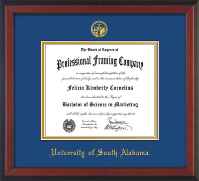 Image of University of South Alabama Diploma Frame - Cherry Reverse - w/USA Embossed Seal & Name - Royal Blue on Gold mats