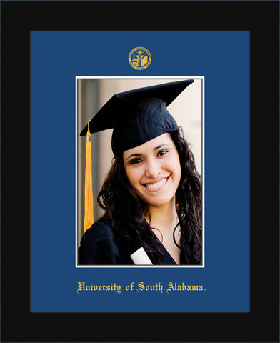 Image of University of South Alabama - 5 x 7 Photo Frame - Flat Matte Black - w/Official Embossing of USA Seal & Name - Single Royal Blue mat