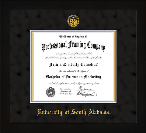 Image of University of South Alabama Diploma Frame - Flat Matte Black - w/USA Embossed Seal & Name - Black Suede on Gold mats