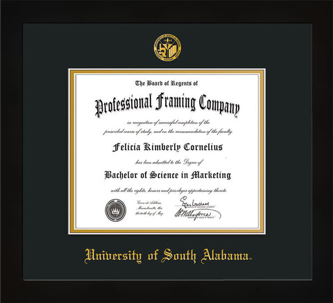 Image of University of South Alabama Diploma Frame - Flat Matte Black - w/USA Embossed Seal & Name - Black on Gold mats