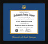 Image of University of South Alabama Diploma Frame - Flat Matte Black - w/USA Embossed Seal & Name - Royal Blue on Gold mats