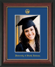 Image of University of South Alabama - 5 x 7 Photo Frame - Rosewood w/Gold Lip - w/Official Embossing of USA Seal & Name - Single Royal Blue mat