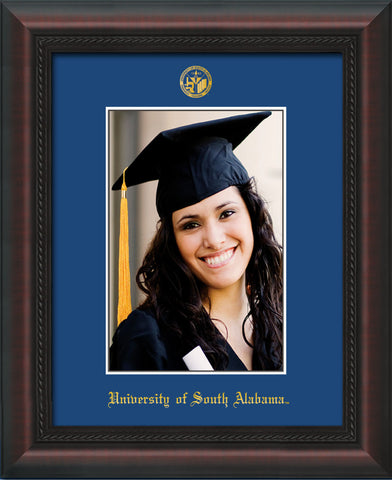 Image of University of South Alabama - 5 x 7 Photo Frame - Mahogany Braid - w/Official Embossing of USA Seal & Name - Single Royal Blue mat