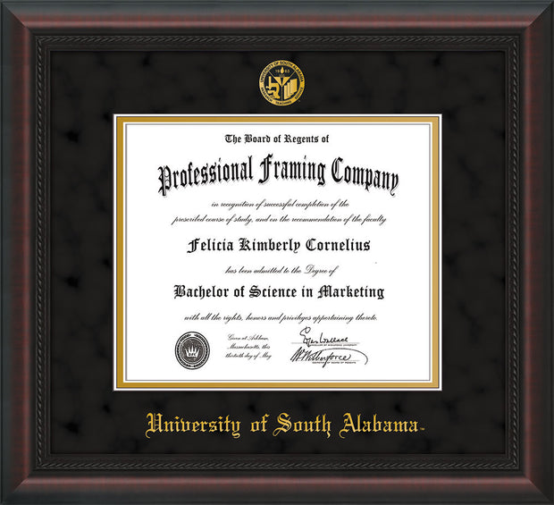 Image of University of South Alabama Diploma Frame - Mahogany Braid - w/USA Embossed Seal & Name - Black Suede on Gold mats