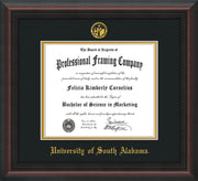 Image of University of South Alabama Diploma Frame - Mahogany Braid - w/USA Embossed Seal & Name - Black on Gold mats