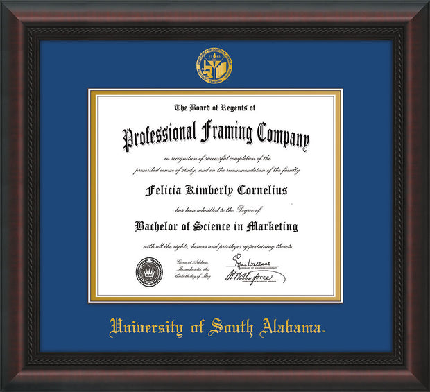 Image of University of South Alabama Diploma Frame - Mahogany Braid - w/USA Embossed Seal & Name - Royal Blue on Gold mats