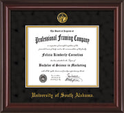 Image of University of South Alabama Diploma Frame - Mahogany Lacquer - w/USA Embossed Seal & Name - Black Suede on Gold mats