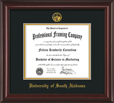 Image of University of South Alabama Diploma Frame - Mahogany Lacquer - w/USA Embossed Seal & Name - Black on Gold mats