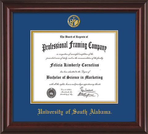 Image of University of South Alabama Diploma Frame - Mahogany Lacquer - w/USA Embossed Seal & Name - Royal Blue on Gold mats