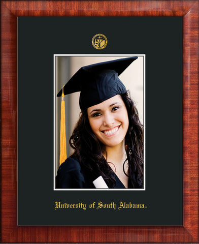 Image of University of South Alabama - 5 x 7 Photo Frame - Mezzo Gloss - w/Official Embossing of USA Seal & Name - Single Black mat