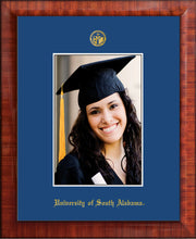 Image of University of South Alabama - 5 x 7 Photo Frame - Mezzo Gloss - w/Official Embossing of USA Seal & Name - Single Royal Blue mat