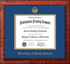 Image of University of South Alabama Diploma Frame - Mezzo Gloss - w/USA Embossed Seal & Name - Royal Blue on Gold mats