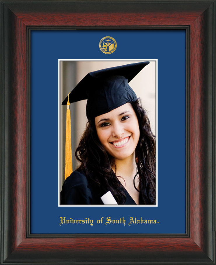 Image of University of South Alabama - 5 x 7 Photo Frame - Rosewood - w/Official Embossing of USA Seal & Name - Single Royal Blue mat