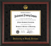 Image of University of South Alabama Diploma Frame - Rosewood - w/USA Embossed Seal & Name - Black Suede on Gold mats