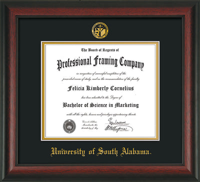 Image of University of South Alabama Diploma Frame - Rosewood - w/USA Embossed Seal & Name - Black on Gold mats