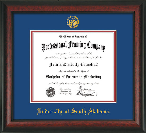 Image of University of South Alabama Diploma Frame - Rosewood - w/USA Embossed Seal & Name - Royal Blue on Crimson mats