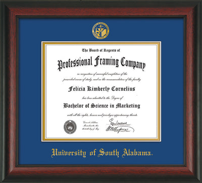 Image of University of South Alabama Diploma Frame - Rosewood - w/USA Embossed Seal & Name - Royal Blue on Gold mats