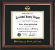 Image of University of South Alabama Diploma Frame - Rosewood w/Gold Lip - w/USA Embossed Seal & Name - Black on Gold mats