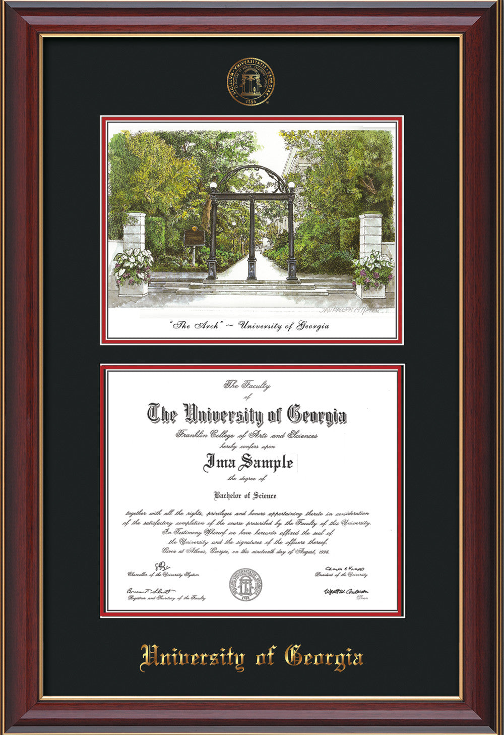 UGA Diploma Frame - Cherry Reverse with Watercolor, Black on Red ...