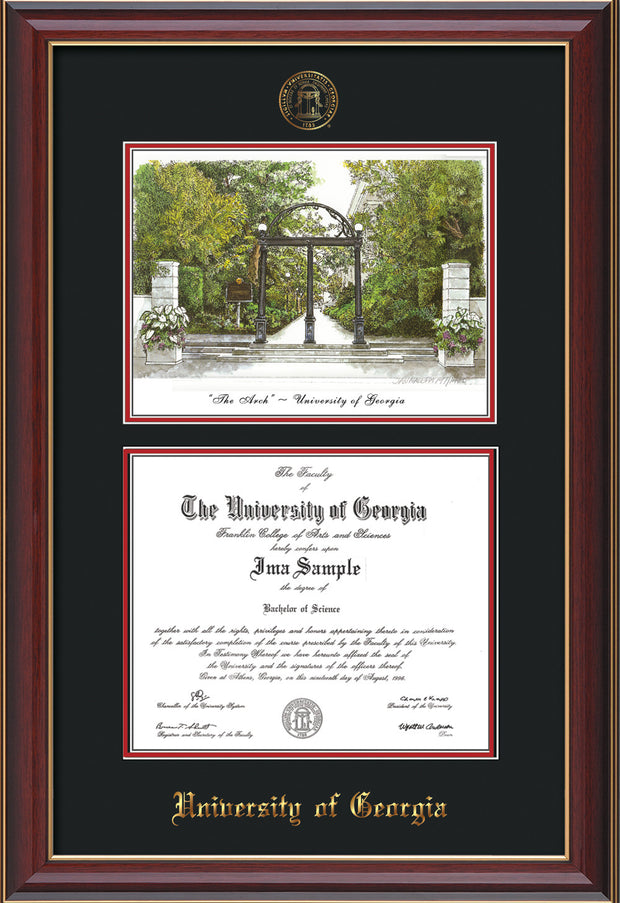 Image of University of Georgia Diploma Frame - Cherry Lacquer - with UGA Seal - Campus Watercolor - Black on Red mat