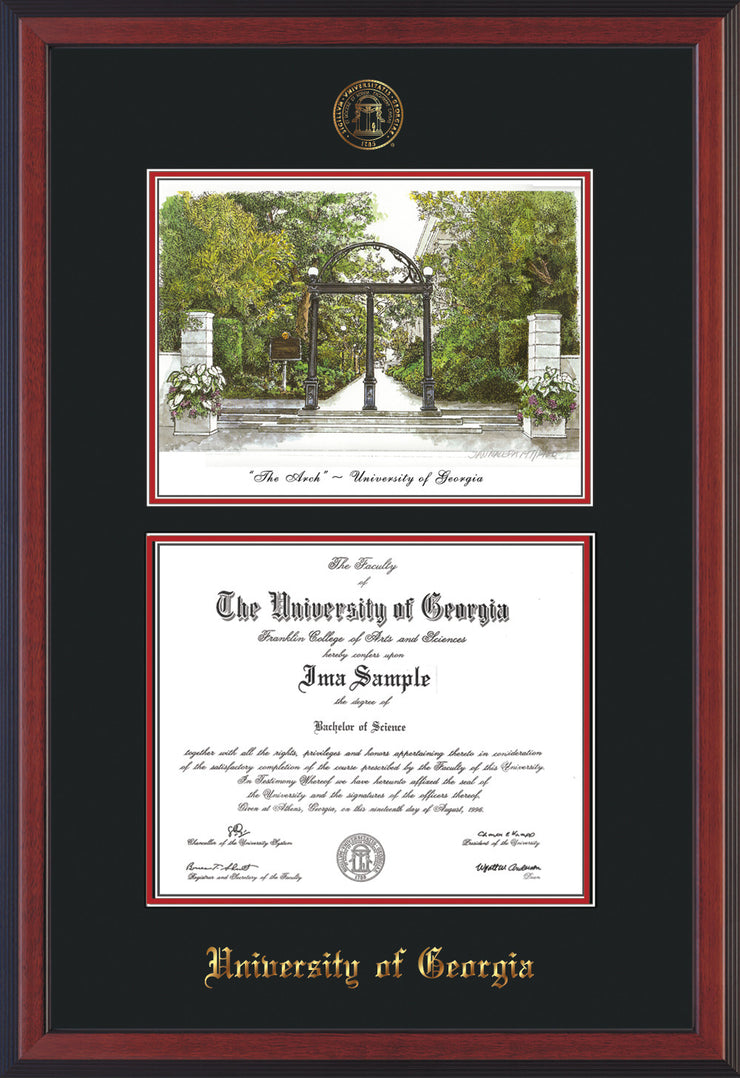 Image of University of Georgia Diploma Frame - Cherry Reverse - with UGA Seal - Campus Watercolor - Black on Red mat