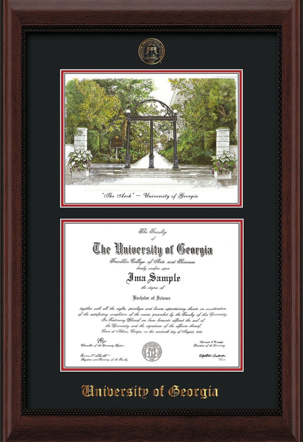 Uga Diploma Frame Mahogany Bead With Watercolor Black