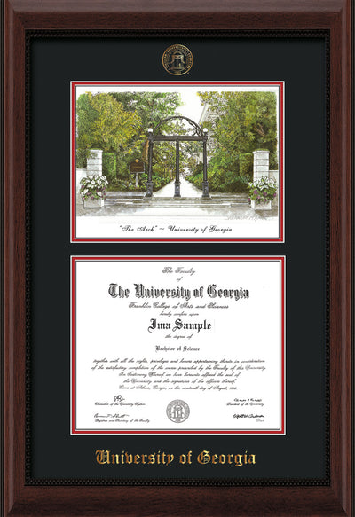 Image of University of Georgia Diploma Frame - Mahogany Bead - with UGA Seal - Campus Watercolor - Black on Red mat