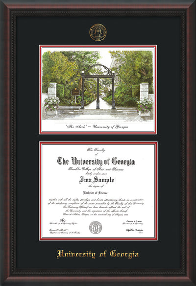 Image of University of Georgia Diploma Frame - Mahogany Braid - with UGA Seal - Campus Watercolor - Black on Red mat