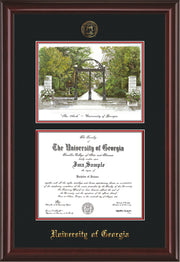 Image of University of Georgia Diploma Frame - Mahogany Lacquer - with UGA Seal - Campus Watercolor - Black on Red mat