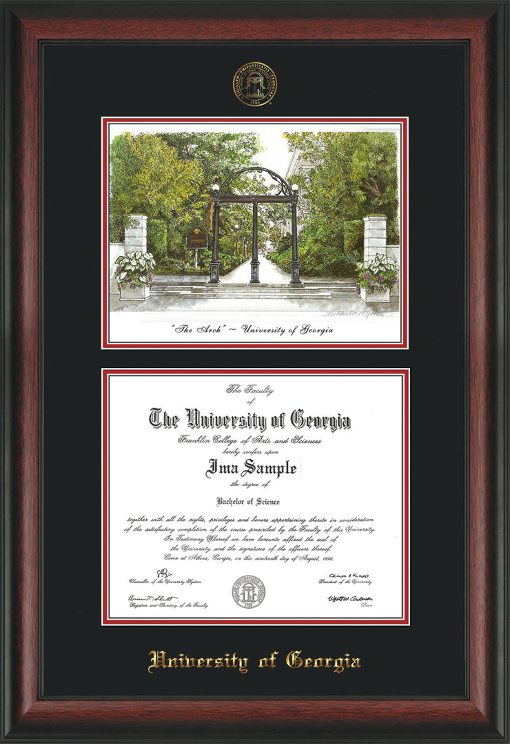 Image of University of Georgia Diploma Frame - Rosewood - with UGA Seal - Campus Watercolor - Black on Red mat
