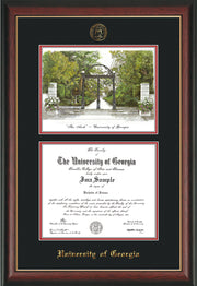 Image of University of Georgia Diploma Frame - Rosewood w/Gold Lip - with UGA Seal - Campus Watercolor - Black on Red mat