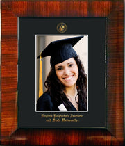 Image of Virginia Tech 5 x 7 Photo Frame - Mezzo Gloss - w/Official Embossing of VT Seal & Name - Single Black mat