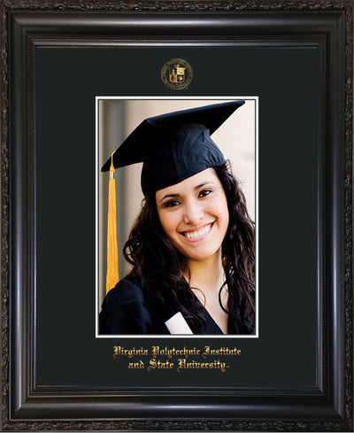 Image of Virginia Tech 5 x 7 Photo Frame - Vintage Black Scoop - w/Official Embossing of VT Seal & Name - Single Black mat