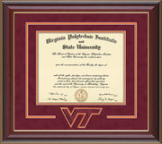Image of Virginia Tech Diploma Frame - Cherry Lacquer - w/3D Laser VT Logo Cutout - Maroon Suede on Orange mat
