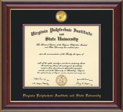 Image of Virginia Tech Diploma Frame - Cherry Lacquer - w/24k Gold-Plated Medallion VT Name Embossing - Black on Maroon mats