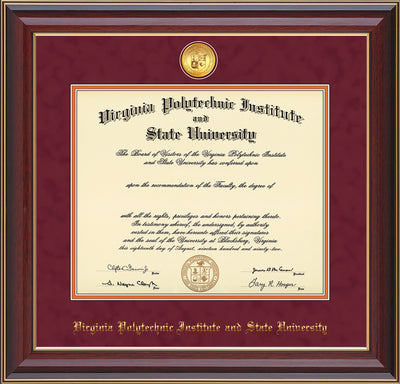 Image of Virginia Tech Diploma Frame - Cherry Lacquer - w/24k Gold-Plated Medallion VT Name Embossing - Maroon Suede on Orange mats