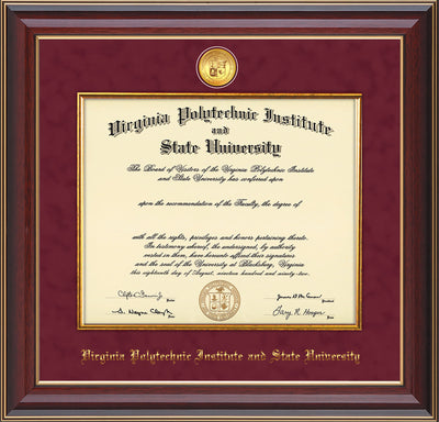 Image of Virginia Tech Diploma Frame - Cherry Lacquer - w/24k Gold-Plated Medallion & Fillet - w/VT Name Embossing - Maroon Suede mat