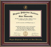 Image of Virginia Tech Diploma Frame - Cherry Lacquer - w/Embossed VT Seal & Name - Black on Maroon mat