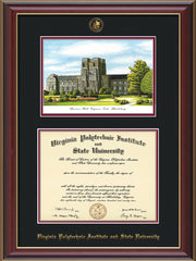 Image of Virginia Tech Diploma Frame - Cherry Lacquer - w/Embossed VT Seal & Name - w/Burruss Hall Campus Watercolor - Black on Maroon mat